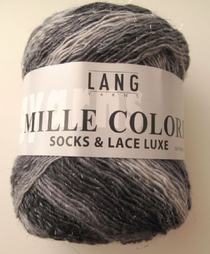 Lang Mille Colori Socks & Lace Luxe - Silver to black with silver lurex